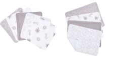 Trend Lab 4 Piece Burp and 5 Pack Wash Cloth Set, Grey White