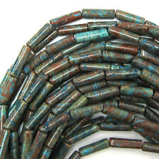 """13mm brown blue turquoise tube beads 16"""" strand"""