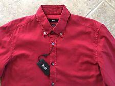 Hugo Boss Black Label Rod Button Down Shirt Mens XXL Slim Red Oxford NWT $155