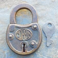 Antique Cast Bronze Corbin Padlock & Key  Antique  Corbin  Lock and Key