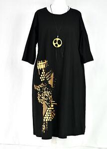 Blue Cotton shift  Dress & necklace by Designer ZEDD PLUS Size XL/XXL