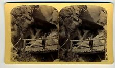 OLDROYD stereoview Trail PIKES PEAK SHELTERED FALLS Colorado Springs waterfall