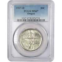 1937 D 50c Oregon Trail Commemorative Silver Half Dollar US Coin MS 67 PCGS