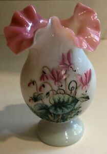 Antique Victorian Bristol Glass Vase Hand Blown Painted Floral Ruffled Pink Top