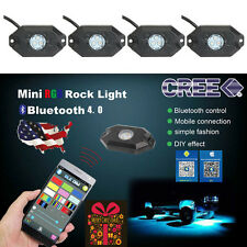 4 Pcs RGB LED Rock Lights Wireless Bluetooth Music Flashing Multi Color Offroad
