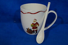 Macy's Martha Stewart Holiday Garden Santa Mug With Spoon - Excellent