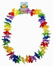 6 Hawaiian Leis Flower Garland Necklaces. Fancy Dress Beach Hula Lei Party