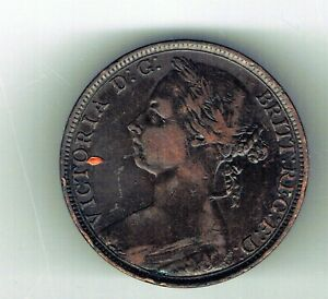 1890 Victoria One Penny coin