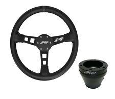 PRP Deep Dish Leather Steering Wheel Black 6 Bolt Hub RZR Commander Maverick