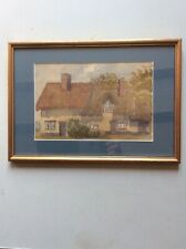 Framed antique watercolour of a cottage scene - Laxfield, Suffolk