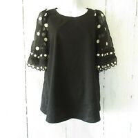 Rebecca Taylor Top X Large XL Black Polka Dot Puff Sleeve Embroidered