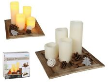 Christmas Candle Set - Wooden Plate LED Candles Xmas Gift Home Deco