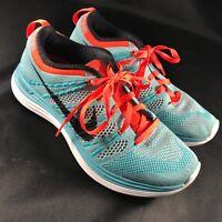 MINT Nike Flyknit Lunar +1 Women's Sz 6.5 37.5 EUR Teal Blue Coral Red $150