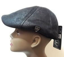 S/M Black Faux Leather Mens Newsboy Cabbie Visor Hat Cap Driving Women