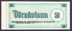 ICELAND. VORUAUISUN. 50 krons. ERROR !!!! The top label is inverted.