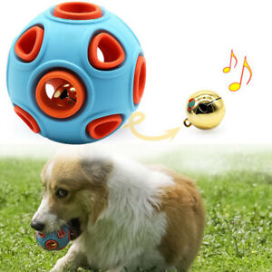 Pet Dog Ball Teeth Silicone Toy Chew Bouncy Ball Elastic Ball With Jingle Bell