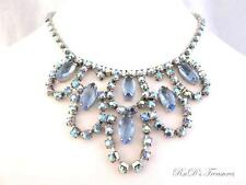 Vintage Ice Blue Rhinestone & AB Silver Tone Bib Necklace