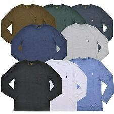 Polo Ralph Lauren, мужской, с V-образным вырезом, классическая посадка с длинным рукавом карман черная футболка новая
