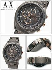 new + box ARMANI EXCHANGE AX1603 Gunmetal Steel Bracelet A/X men's WATCH Rose