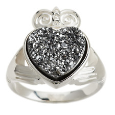 JMH JEWELLERY PLATINUM-PLATED STERLING CLADDAGH DRUSY QUARTZ RING SIZE 7 QVC