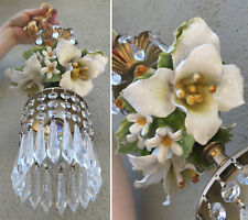 chandelier Swag vintage lamp Porcelain White Lily Beaded Capodimonte Brass tole