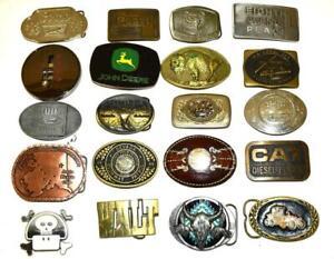 Vintage WHOLESALE LOT 20 BELT BUCKLES NOVELTY NICKEL BRASS ETC
