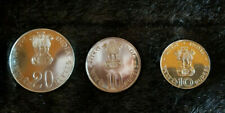 INDIA FAO 10 & 20 Rupees UNC 1973 & 1971 3 Coins Silver Set