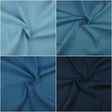 4oz 100% Cotton Pure Denim Fabric, Soft, Washed, Plain -Lightweight- Metres
