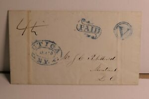 """ENVELOPE/ LETTER WITH BLUE FANCY  P.M. - """"UTICA NY"""", """"PAID"""" AND """"V"""" IN CIRCLE"""