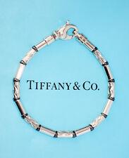 Tiffany & Co inciso Perlina Argento Sterling Braccialetto Ematite