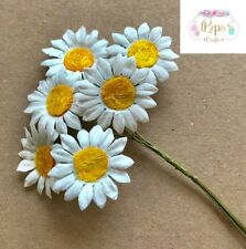 Quality Mulberry Paper Stem Daisies 25mm Card Making Craft Daisy Flower