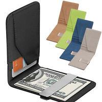 Mens Fake Leather Money Clip Slim Wallets Black ID Credit Card Holder 3C M&E
