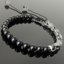 Men's Women Braided Bracelet Black Onyx Rutilated Quartz Sterling Silver 1179