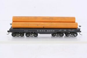 Athearn HO Scale Erie 200 Ton Heavy Duty Flat Car With Pipe Load Sprung Trucks