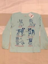 Crewcuts, LS supersoft graphic tee, size 6-7, color light blue with dogs