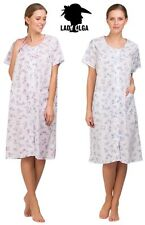 Ladies Poly Cotton Floral Button through nightie nightdress gown wi pockets10-32