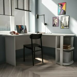 White L-Shape Executive Desk with Two Open Shelve