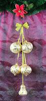 Glas Kugelgehänge Eislack Gold Lauscha Weihnachtsdeko, Fensterdeko Glas 50 cm