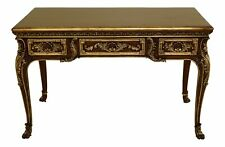 31830Ec: French Louis Xv Style Mahogany Desk w. Gold Gilt