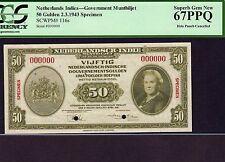 Netherlands Indies, 50 Gulden 1943, P-116s * Specimen * PCGS Superb Gem Unc 67