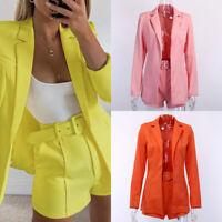 New Women 2 Piece Set Office Uniform Business Suits Short Pants Blazer Suit Coat
