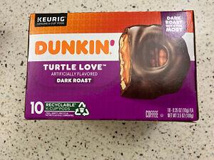 Dunkin' Turtle Love Dark Roast K Cups 10 Ct.sealed Exp 7/2022