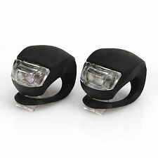 Black 2Pcs LED Silicone Mountain Bike Bicycle Rear Lights Kit Set 80273
