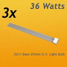3PCS UVC Light Bulb 36W Watt 2G11 Base for Aquarium Pond UV Clarifier Sterilizer