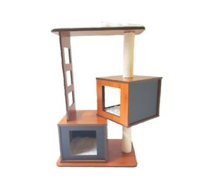 Wooden Cat Tower Cats Tree Scratcher Bed -- Single, Double and Triple Boxes