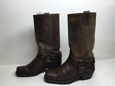 VTG WOMENS FRYE SQUARE TOE HARNESS MOTORCYCLE BROWN  BOOTS SIZE 6.5 M