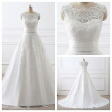 Ready Made New Detachable Train White/Ivory Wedding Dress Bridal Gown Size 2-16