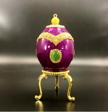 Crystal Purple Metal Faberge Jewellery Box Decor Russian Easter Egg Imperial