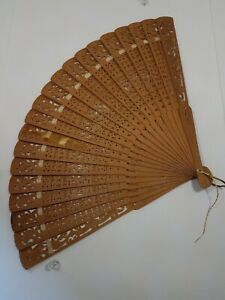 """Wood/Bamboo Vintage Folding Hand Fan - Length 9"""" Carved - Wedding Style"""