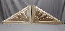 Lrg Antique Sunburst Wood Corbels Roof Brackets Fan Pediment Vtg Chic 387-18P